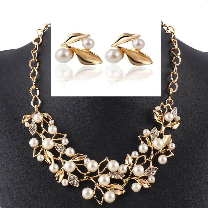 Womens electroplating alloy Imitated crystal Leaf Jewelry Set Sweater Necklace PJ190422118737