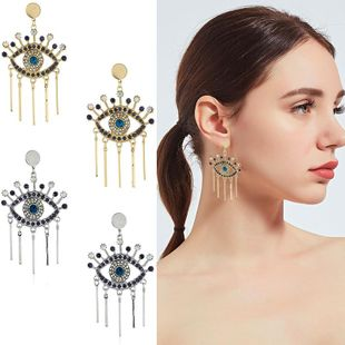 Womens Eye Fringe with rhinestones Alloy Earrings KQ190423118943's discount tags
