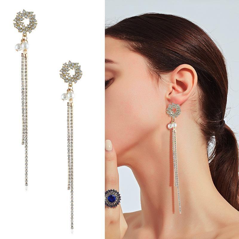 Womens geometric inlay imitated crystal alloy Earrings KQ190423118967