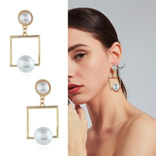Womens Geometric Inlay Beads Alloy Earrings KQ190423118968's discount tags