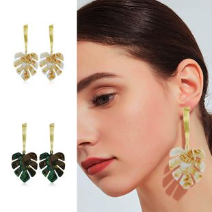 Womens Leaf Plating Alloy Earrings KQ190423118970's discount tags