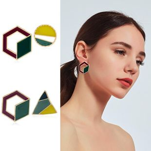 Womens Geometry Electroplating Alloy Earrings KQ190423118972's discount tags
