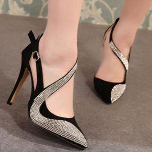 Fashion rhinestone high heels single shoes SO190424118988's discount tags