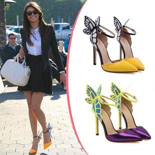 Butterfly wing high heel pointed shoes SO190424118989's discount tags
