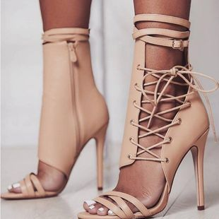 High heel strap buckle boots SO190424118995's discount tags