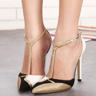 Pointed rhinestone colorblock sexy sandals SO190424119005's discount tags
