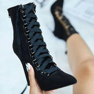 New large size high heel women s fine with pointed cross straps bare boots SO190424119019's discount tags