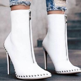 Pointed rivet black and white women s boots knight boots SO190424119023's discount tags