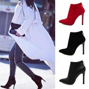 Simple smooth back zipper pointed high heel booties SO190424119030's discount tags