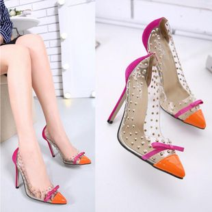 Thin high-heeled word open toe sandals SO190424119031's discount tags