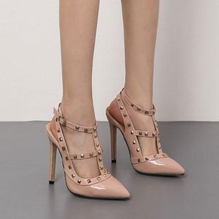 Anti-wolf shoes rivets high heels pointed stiletto large size shoes women s shoes SO190424119036's discount tags