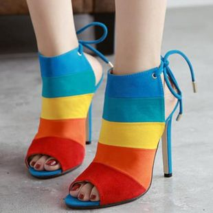 High-heeled color matching stiletto sandals sexy fish mouth shoes SO190424119041's discount tags