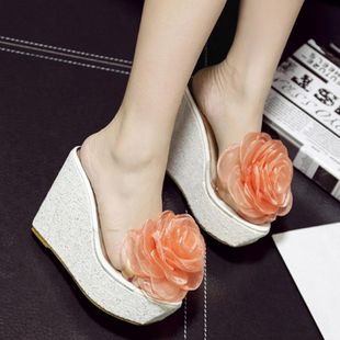 Muffin wedges with thick bottom high heel fish mouth transparent sandals and slippers SO190424119045's discount tags