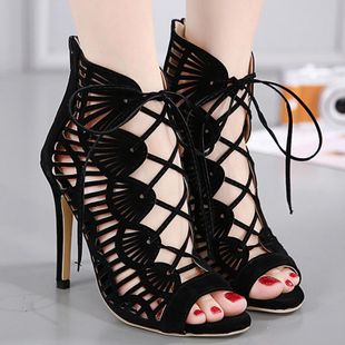 Cutout cross strap high heel sandals fish mouth sexy women s shoes SO190424119048's discount tags