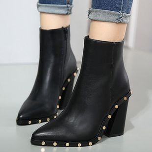 Rate rivet thick high heel pointed smooth boots women s boots SO190424119062's discount tags