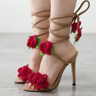 Ten Rose Cross Lace High Heel Sandals SO190424119068's discount tags