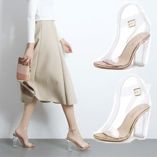 With open toe catwalk imitated crystal shoes transparent thick with sandals women s shoes SO190424119069's discount tags