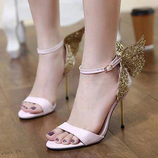 Steel heel to create rhinestone butterfly high heel sandals SO190424119066's discount tags