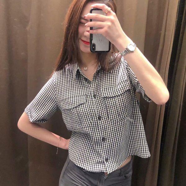 Black and white women s short-sleeved blouse AM190425119082