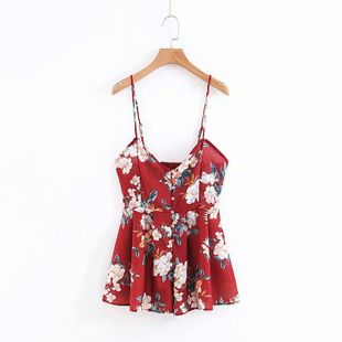 Summer floral print halter straps shorts AM190425119085's discount tags