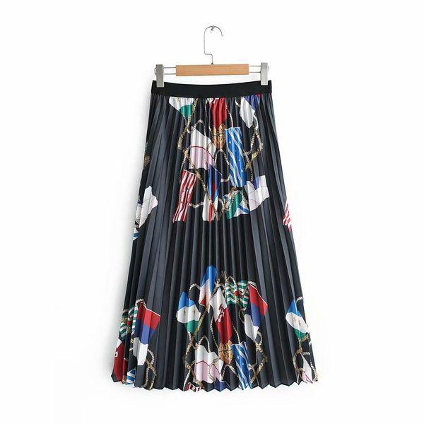 Falda falda plisada estampada cadena primavera AM190425119100