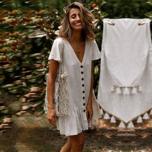 Single-breasted deep V-neck cotton and linen dress DF190425119128's discount tags