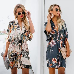 Printed V-neck dress DF190425119159's discount tags