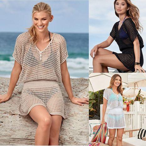 Creux tricot lâche spa maillot de bain blouse femme bikini extérieur maille crème solaire manteau de plage XW190425119181's discount tags