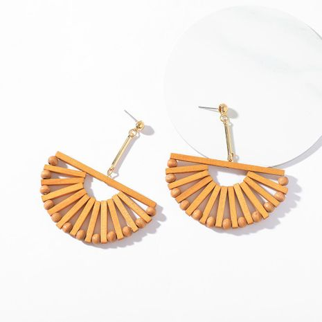 Womens Fan Wooden hollow  Earrings LL190426119516's discount tags