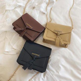 Tide simple Messenger bag female wild tassel chain bag XC190427119566's discount tags