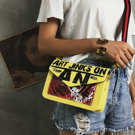 Summer Graffiti Letters Wide Shoulder Strap Shoulder Crossbody Bag XC190427119586's discount tags