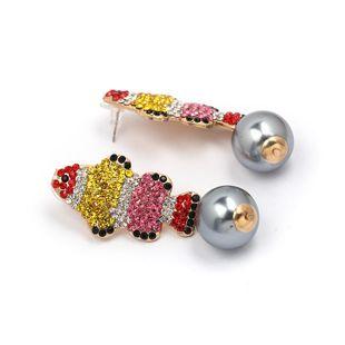 Womens Fish Rhinestone Alloy Earrings JJ190429119689's discount tags