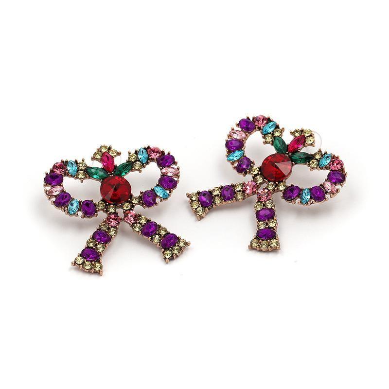 Womens Bow and Rhinestone Alloy Earrings JJ190429119694