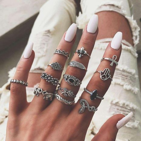 Unisex U-shaped Elephant flower, leaves, star plating alloy Rings GY190429119789's discount tags