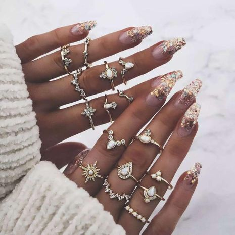 New rhinestone-encrusted crown drop-shaped retro style Alloy Rings GY190429119792's discount tags