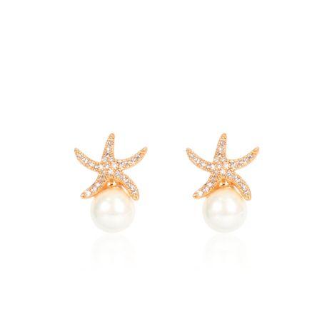 Womens Starfish  Rhinestone starfish temperament Copper Earrings CT190429119795's discount tags