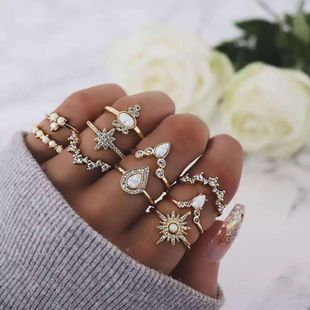 Fashion temperament stars drop rhinestones Unisex geometry plating alloy Rings GY190429119803's discount tags