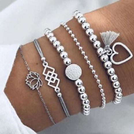 Womens Heart Plating Alloy Individual lotus square love beads  Bracelets & Bangles GY190429119807's discount tags