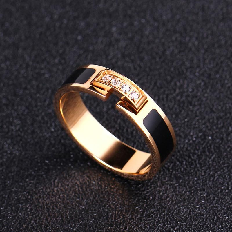 Animal Rose alloy with rhinestones on the black side Zodiac Titanium Steel Rings IM190429119832