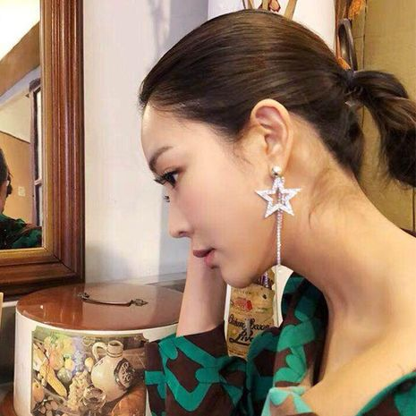 Womens Five-Pointed  tassel with rhinestones Acrylic Earrings JE190429119843's discount tags