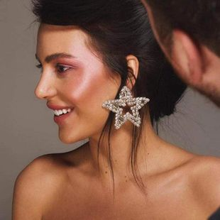 Womens Five-Pointed  Exaggerated five-pointed star hollow rhinestone Acrylic Earrings JE190429119844's discount tags
