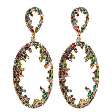 Womens Geometric Rhinestone hollow  Acrylic Earrings JE190429119846's discount tags