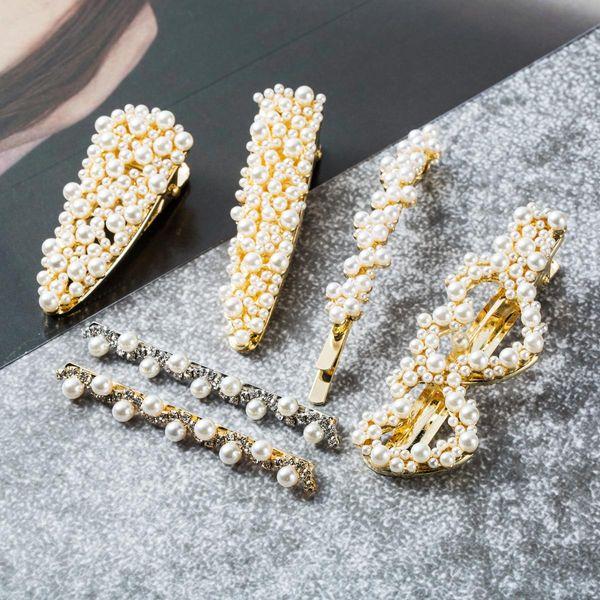Perla con incrustaciones geométricas imitación perla para mujer Accesorios para pelo JE190429119848