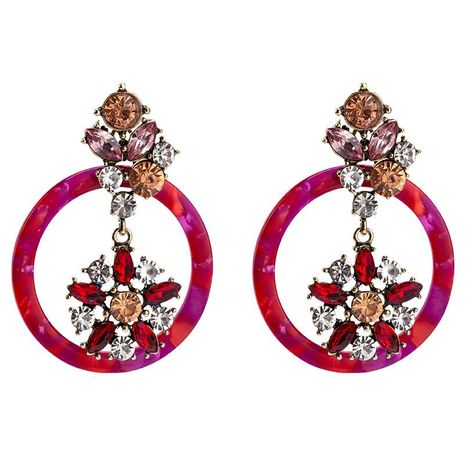 Womens Floral Exaggerated round sheet acrylic flower  Plate Earrings JE190429119855's discount tags