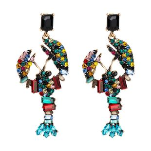 Womens Lobster Acrylic Long rhinestone Earrings JE190429119859's discount tags