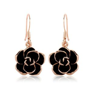 Womens  Fashion black rose Floral Plating Alloy Earrings LJ190429119868's discount tags