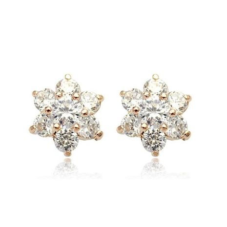 Womens Floral Plating Simple flower Alloy Earrings LJ190429119869's discount tags