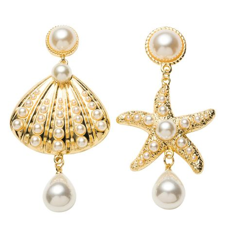 Womens Shell Starfish Imitation Starfish shell with beadss Earrings JE190429119871's discount tags