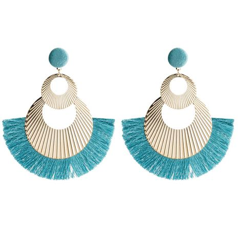 Womens Geometric Hand-knitted Braided fan tassel Alloy Earrings JE190429119874's discount tags