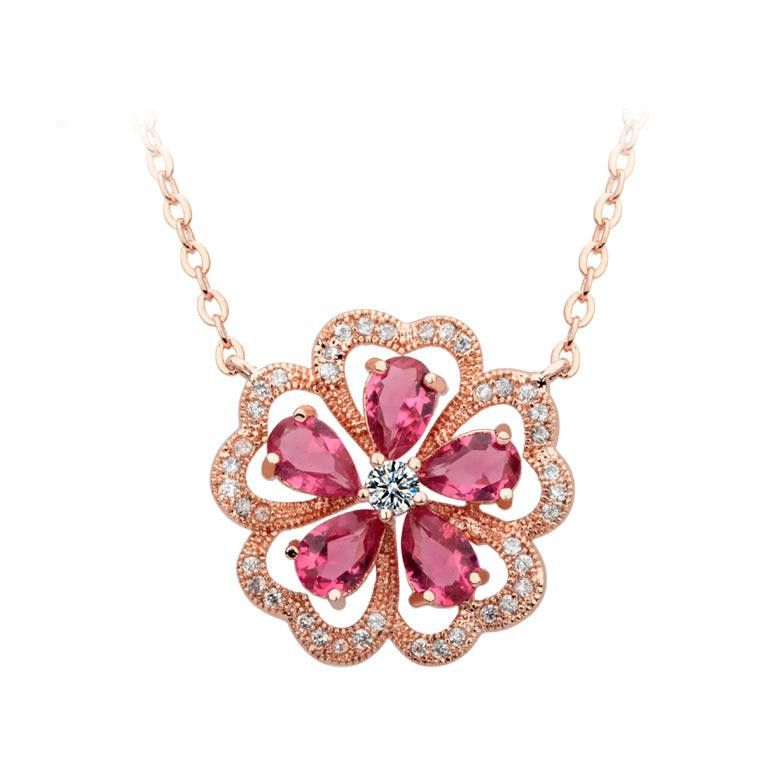 Womens Floral Electroplated Copper Inlay Zircons Necklaces TM190429119887